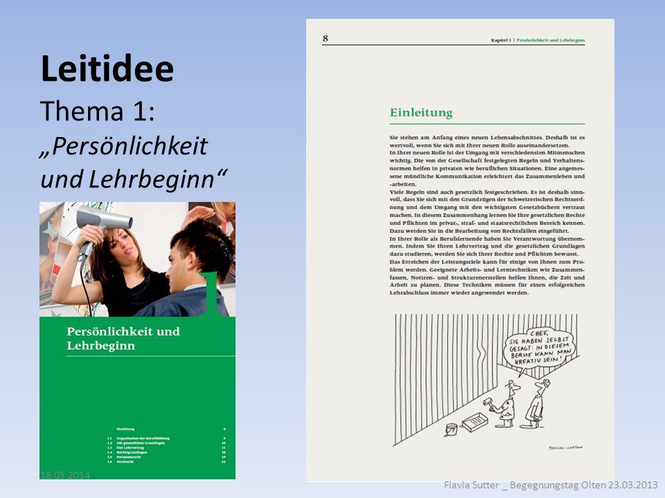 """Leitidee Thema 1: """"Persönlichkeit und Lehrbeginn"""