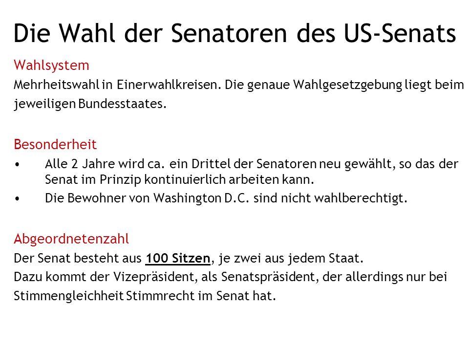 Die Wahl der Senatoren des US-Senats