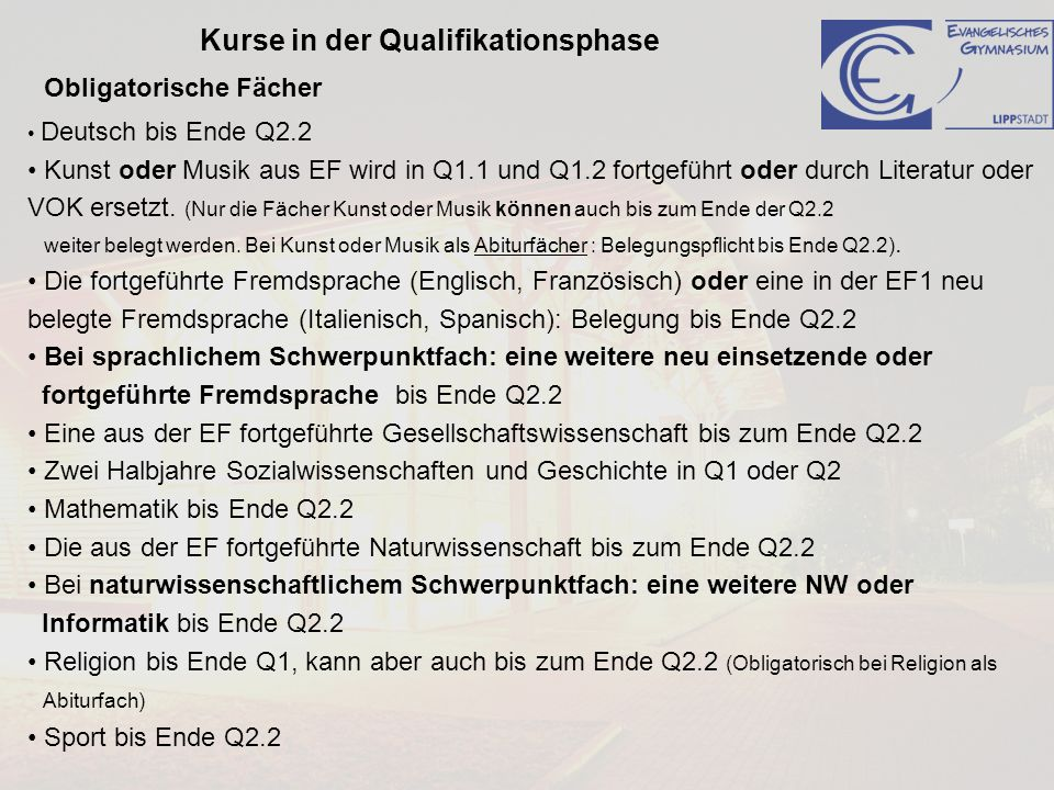 Kurse in der Qualifikationsphase