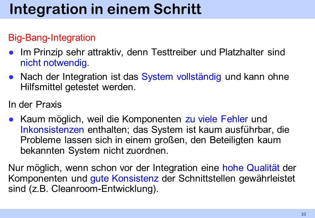 Integration in einem Schritt