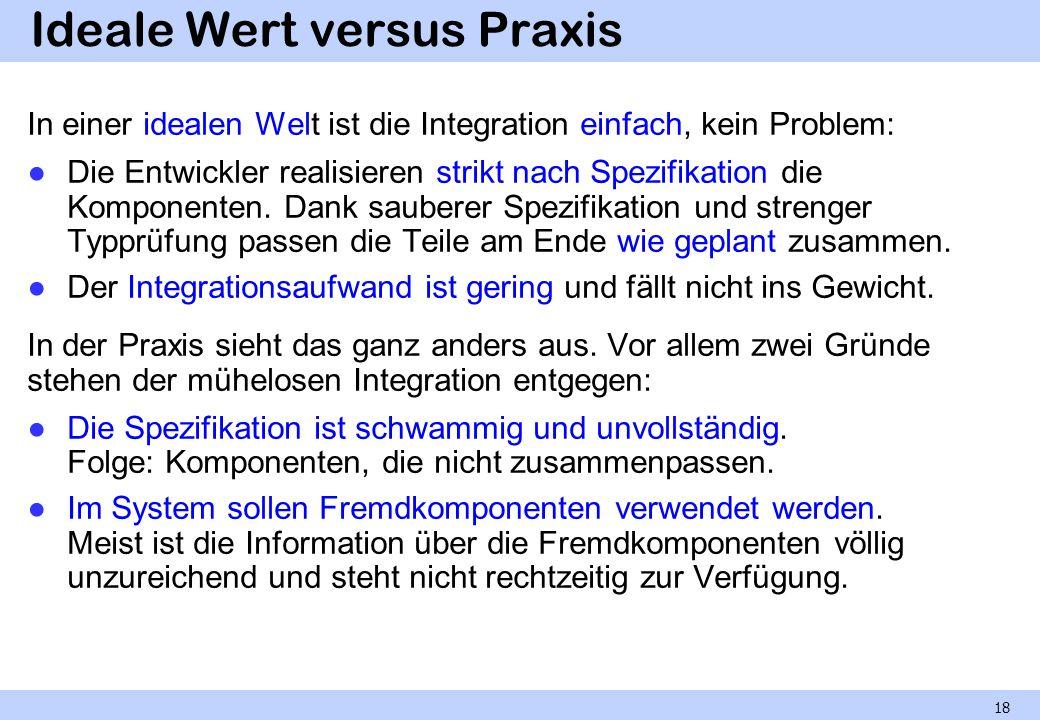 Ideale Wert versus Praxis