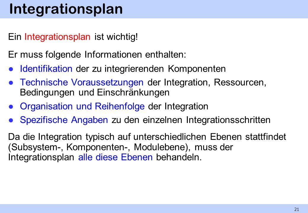 Integrationsplan Ein Integrationsplan ist wichtig!