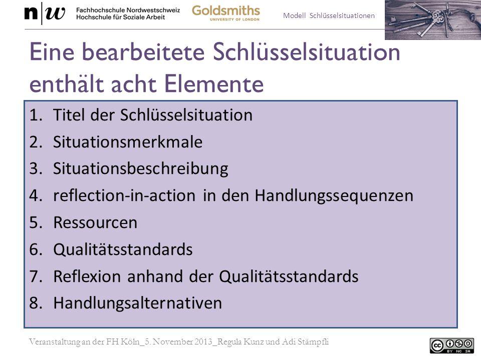Eine bearbeitete Schlüsselsituation enthält acht Elemente