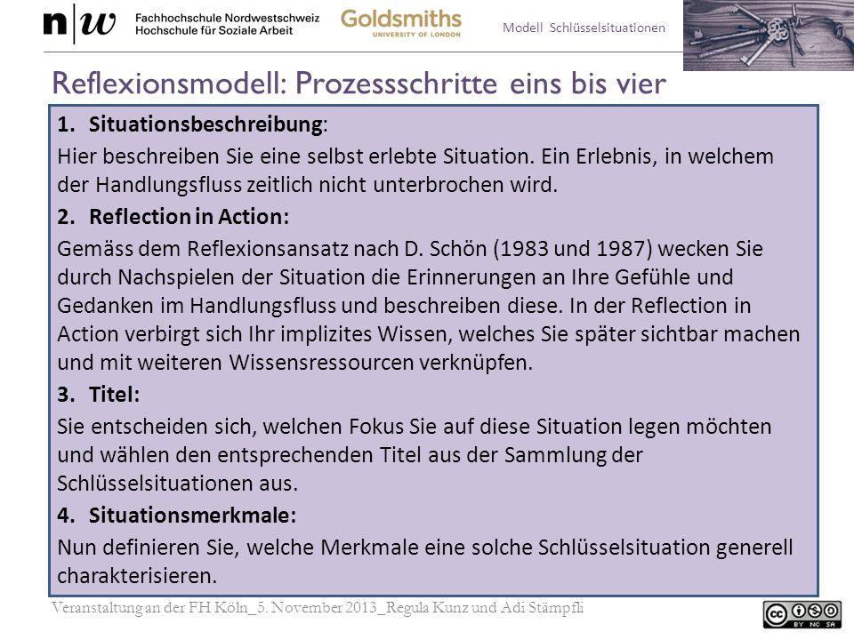 Reflexionsmodell: Prozessschritte eins bis vier