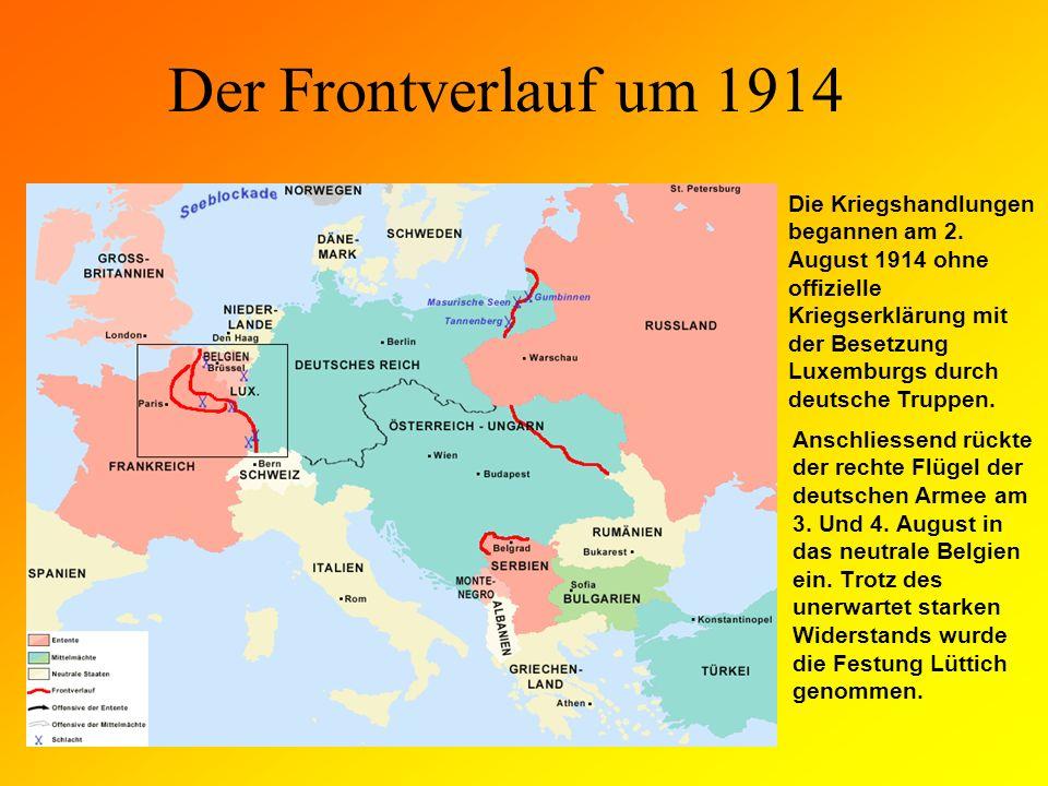 Der Frontverlauf um 1914