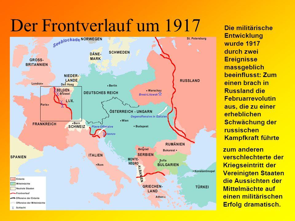 Der Frontverlauf um 1917