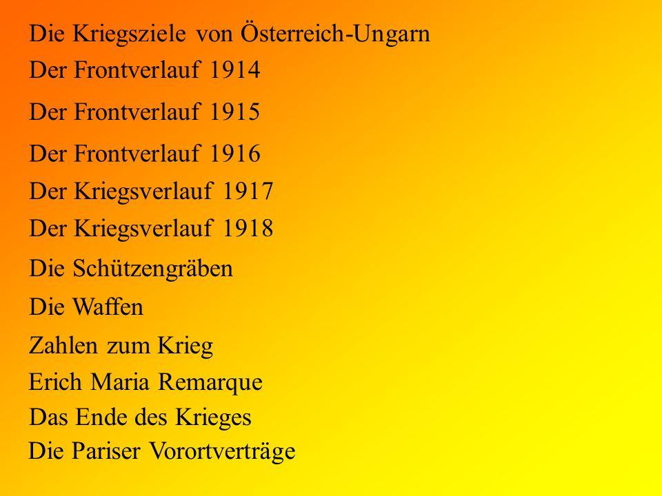 Die Kriegsziele von Österreich-Ungarn