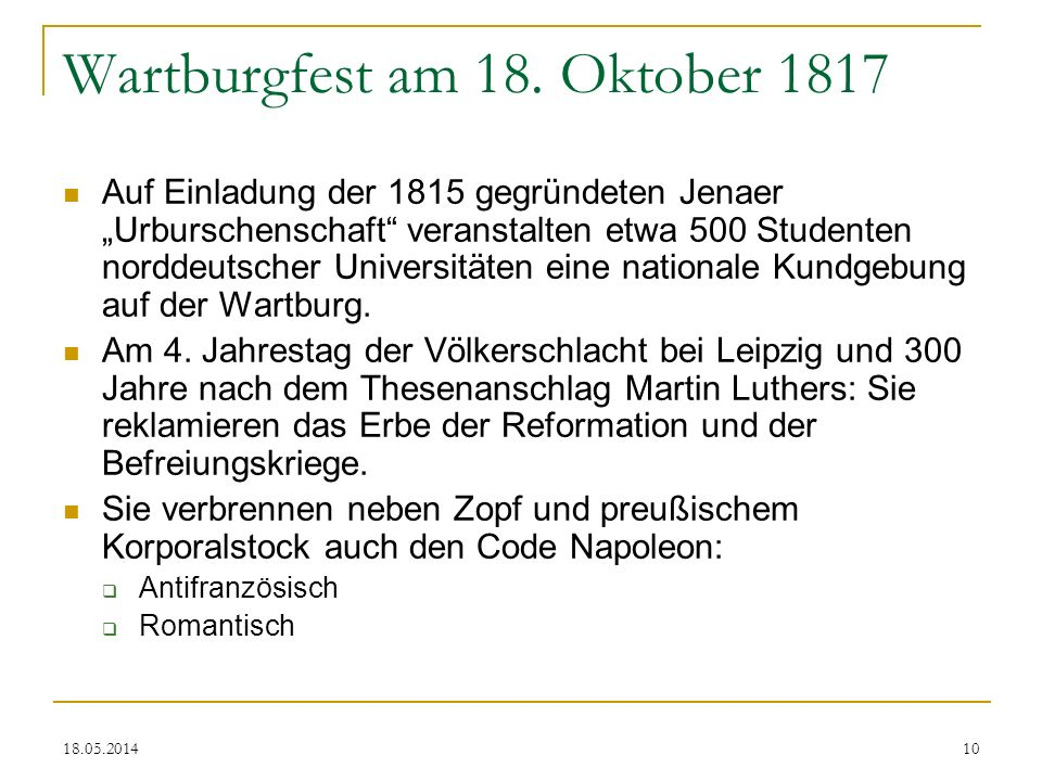 Wartburgfest am 18. Oktober 1817