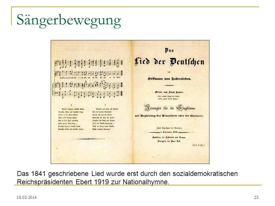 Sängerbewegung Das 1841 geschriebene Lied wurde erst durch den sozialdemokratischen Reichspräsidenten Ebert 1919 zur Nationalhymne.