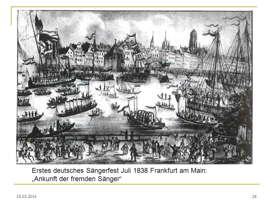 "Erstes deutsches Sängerfest Juli 1838 Frankfurt am Main: ""Ankunft der fremden Sänger"