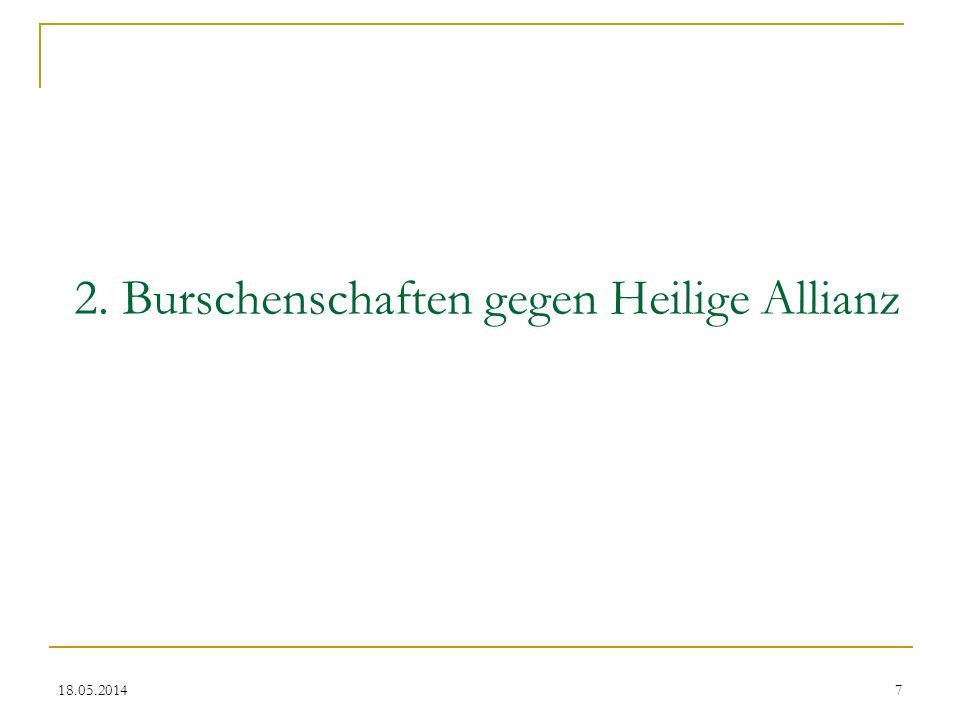 2. Burschenschaften gegen Heilige Allianz