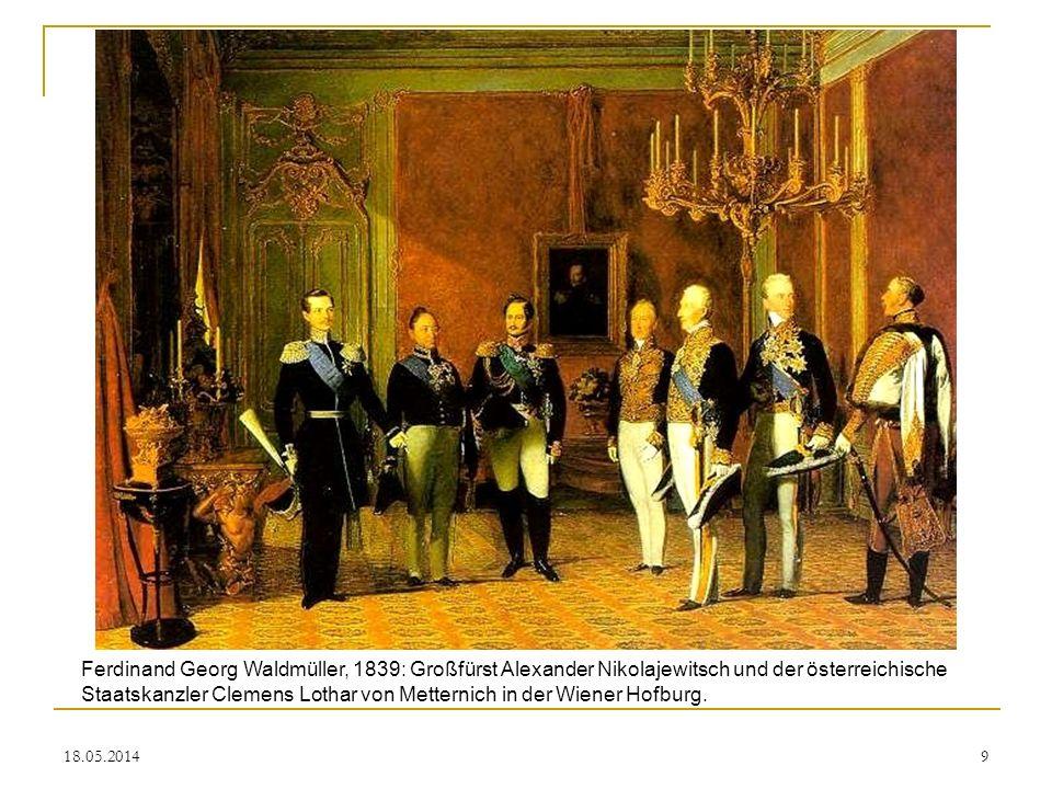 Ferdinand Georg Waldmüller, 1839: Großfürst Alexander Nikolajewitsch und der österreichische Staatskanzler Clemens Lothar von Metternich in der Wiener Hofburg.