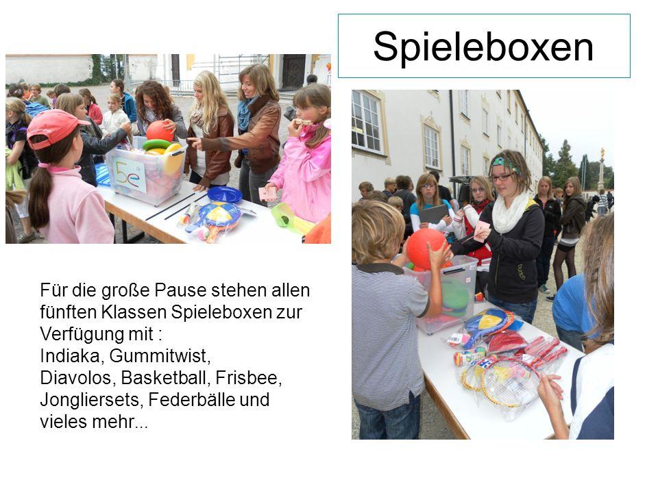 Spieleboxen Für die große Pause stehen allen fünften Klassen Spieleboxen zur Verfügung mit : Indiaka, Gummitwist,