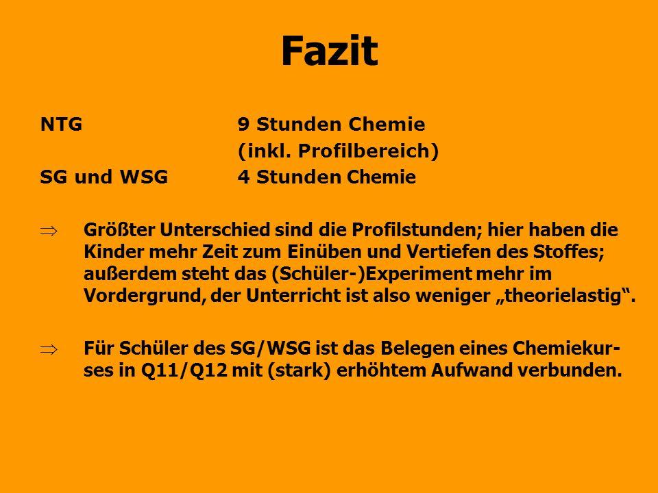 Fazit NTG 9 Stunden Chemie (inkl. Profilbereich)