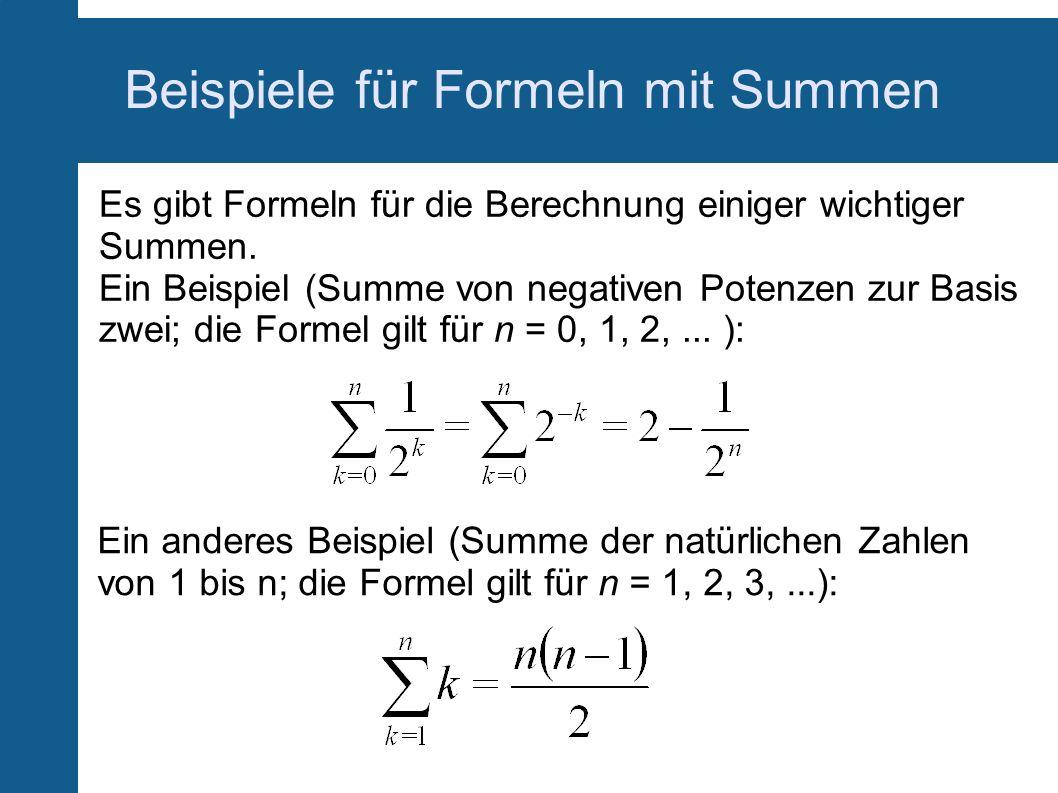 Beispiele für Formeln mit Summen