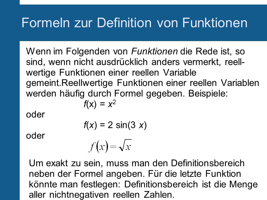 Formeln zur Definition von Funktionen