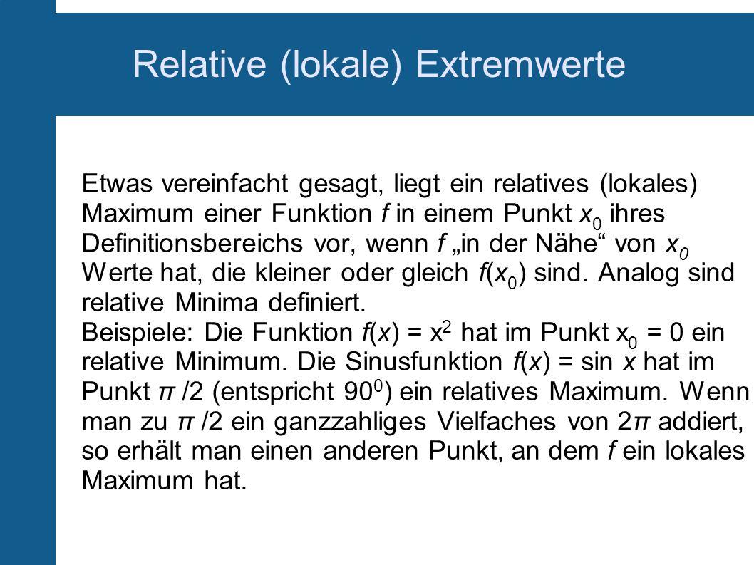 Relative (lokale) Extremwerte