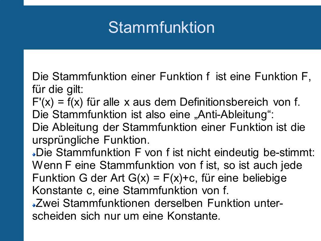 Stammfunktion Die Stammfunktion einer Funktion f ist eine Funktion F, für die gilt: F (x) = f(x) für alle x aus dem Definitionsbereich von f.