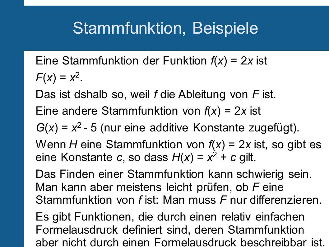 Stammfunktion, Beispiele
