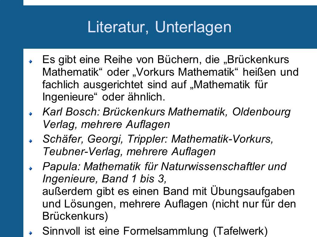 Literatur, Unterlagen