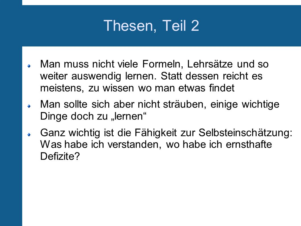 Thesen, Teil 2