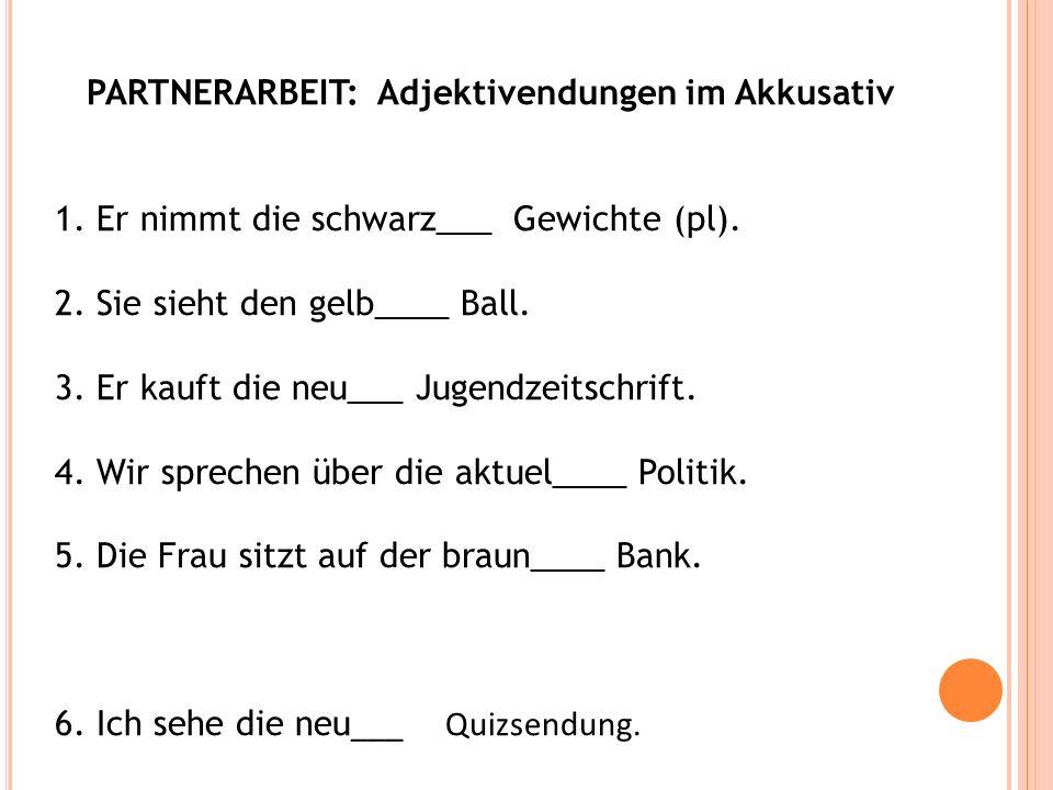PARTNERARBEIT: Adjektivendungen im Akkusativ