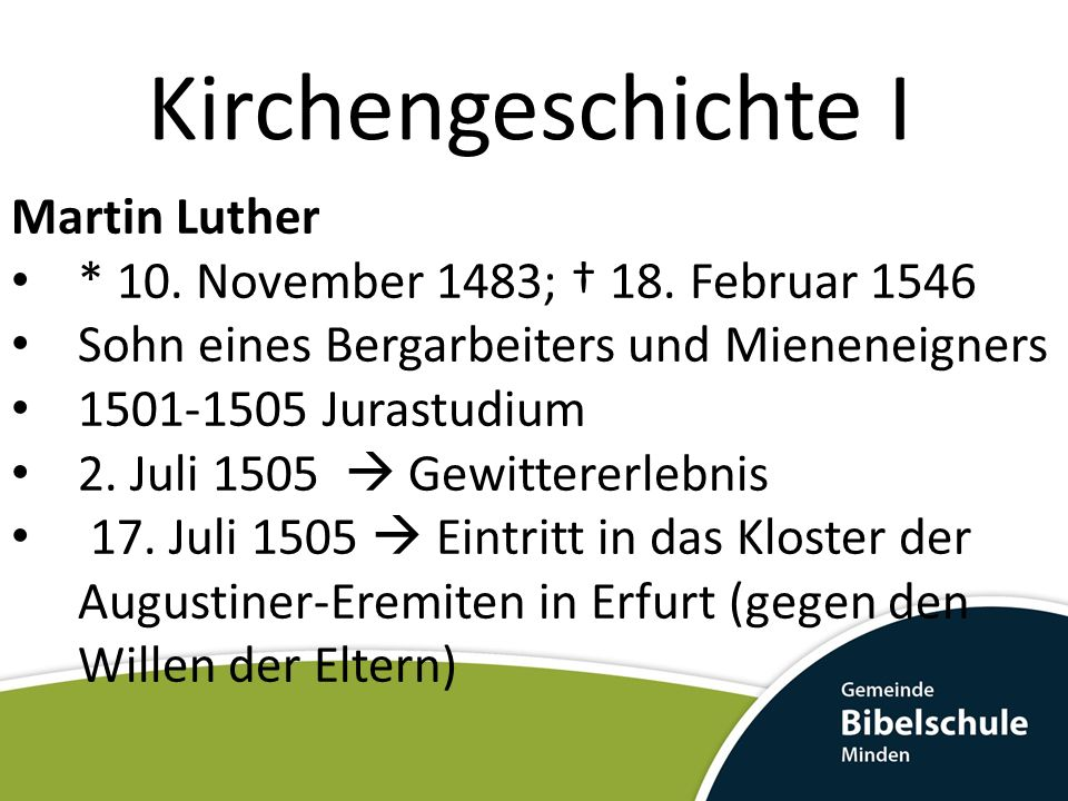 Kirchengeschichte I Martin Luther