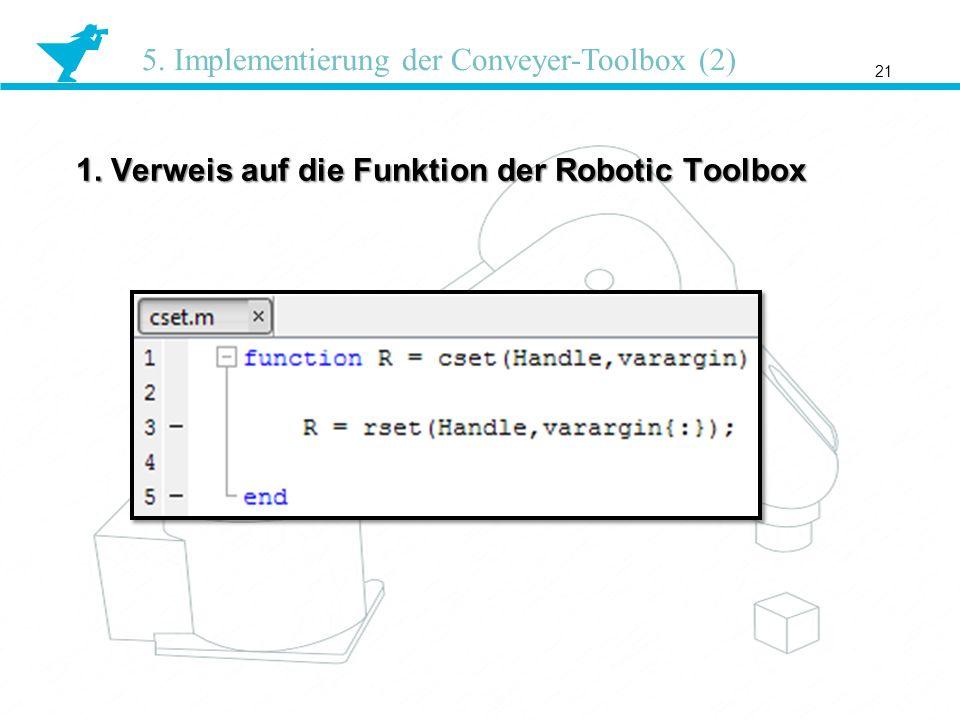 1. Verweis auf die Funktion der Robotic Toolbox