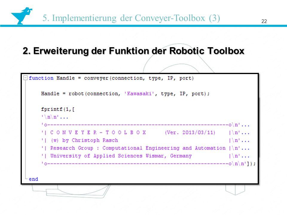 2. Erweiterung der Funktion der Robotic Toolbox