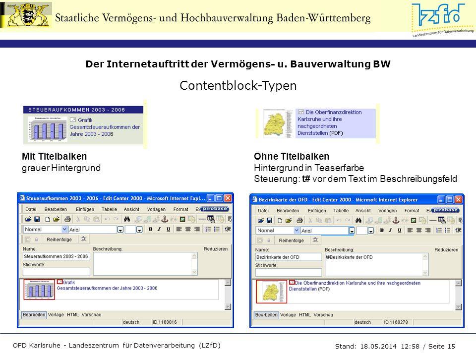 Contentblock-Typen Ohne Titelbalken Hintergrund in Teaserfarbe Steuerung: t# vor dem Text im Beschreibungsfeld.