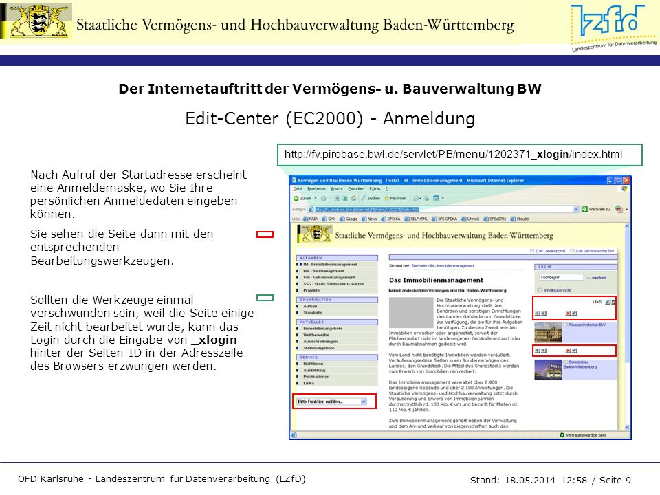 Edit-Center (EC2000) - Anmeldung