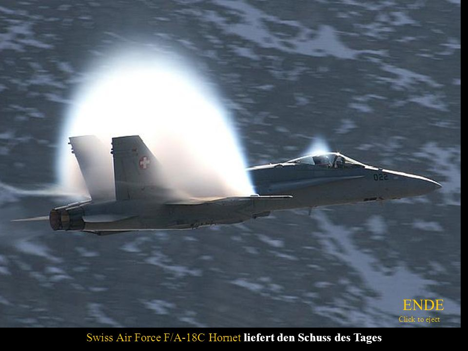 Swiss Air Force F/A-18C Hornet liefert den Schuss des Tages