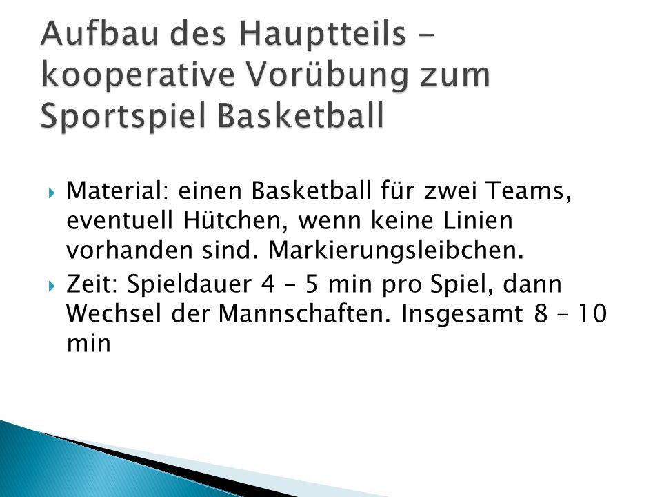 Aufbau des Hauptteils - kooperative Vorübung zum Sportspiel Basketball