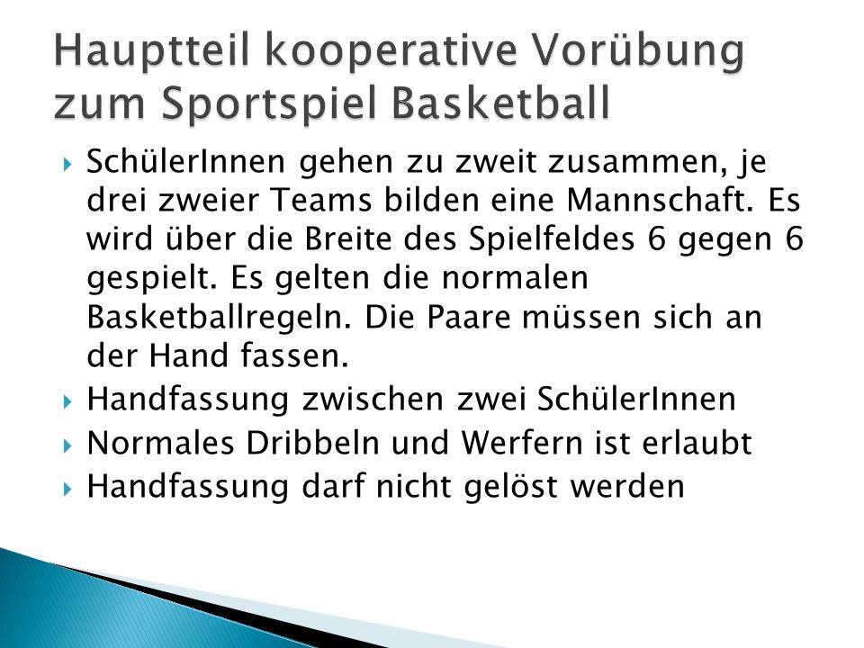 Hauptteil kooperative Vorübung zum Sportspiel Basketball