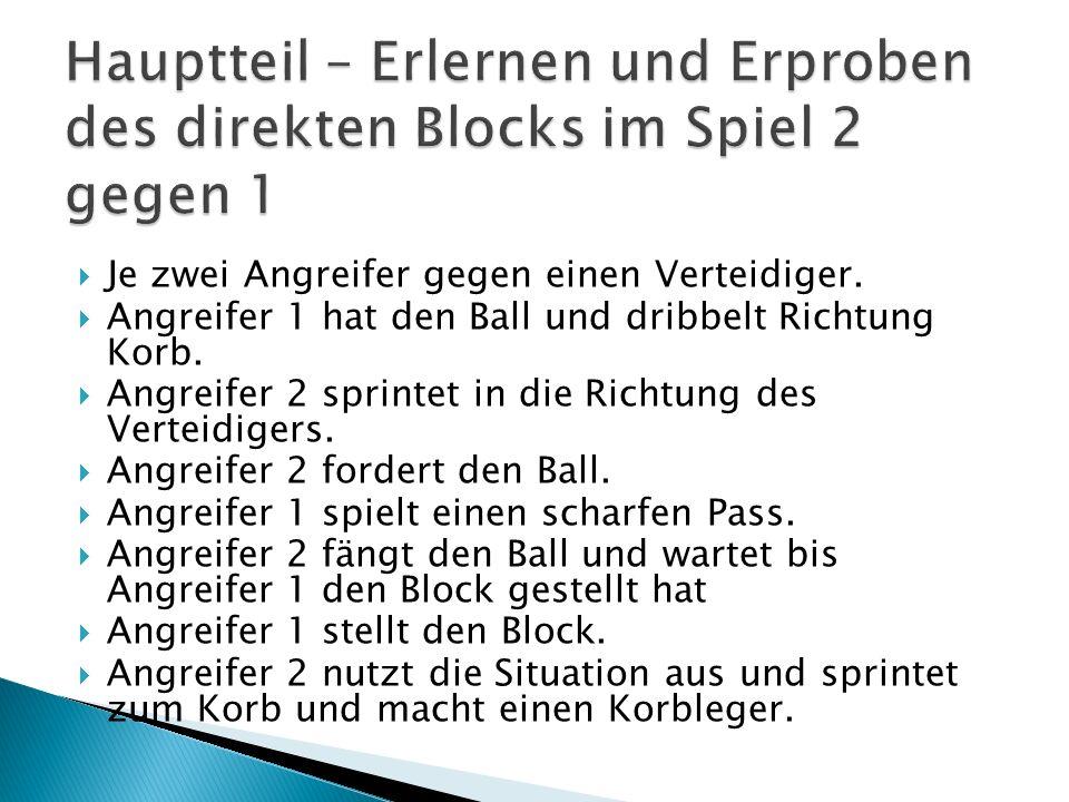 Hauptteil – Erlernen und Erproben des direkten Blocks im Spiel 2 gegen 1