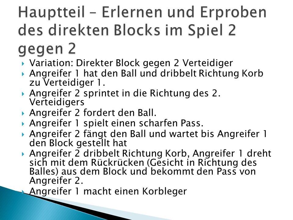 Hauptteil – Erlernen und Erproben des direkten Blocks im Spiel 2 gegen 2