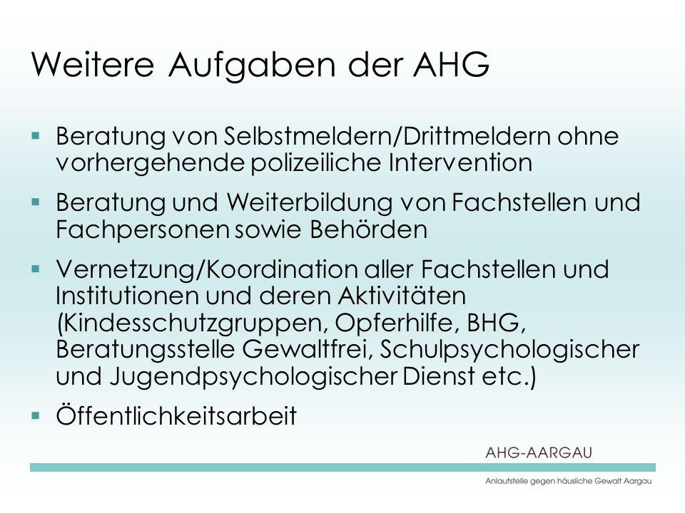 Weitere Aufgaben der AHG