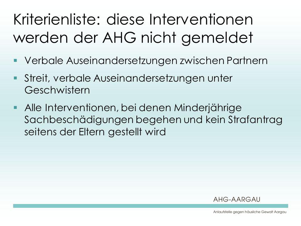 Kriterienliste: diese Interventionen werden der AHG nicht gemeldet