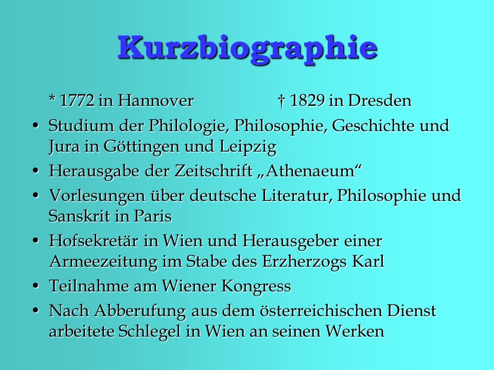 Kurzbiographie * 1772 in Hannover † 1829 in Dresden