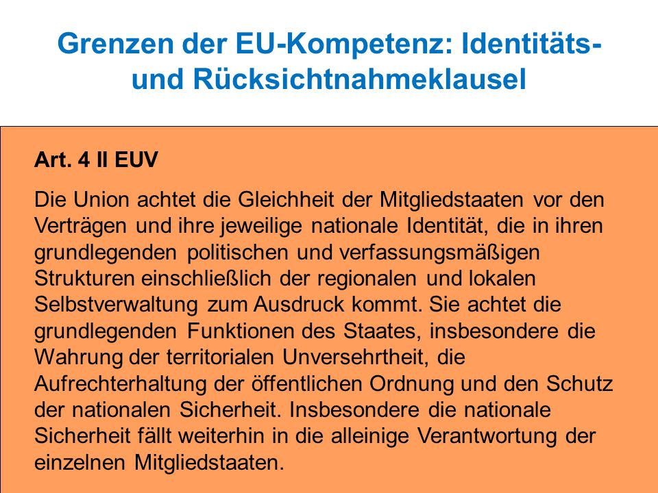 Grenzen der EU-Kompetenz: Identitäts- und Rücksichtnahmeklausel