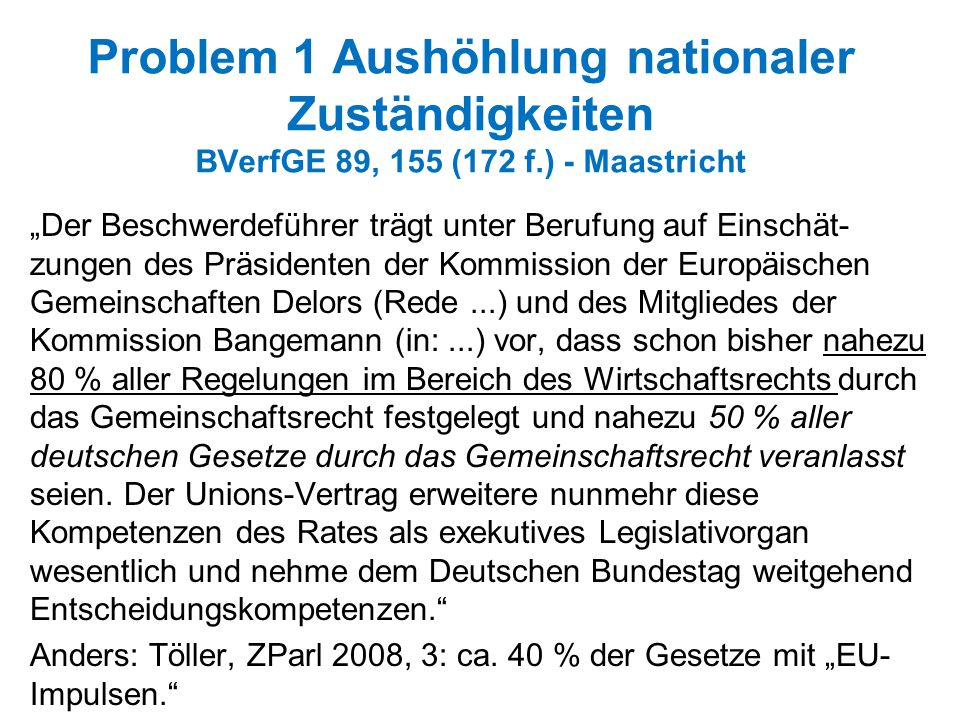Problem 1 Aushöhlung nationaler Zuständigkeiten BVerfGE 89, 155 (172 f
