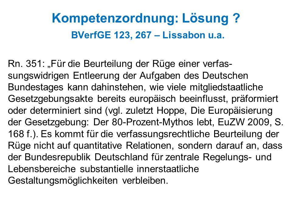 Kompetenzordnung: Lösung BVerfGE 123, 267 – Lissabon u.a.