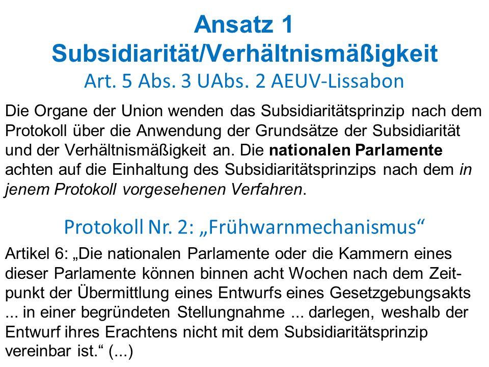 """Protokoll Nr. 2: """"Frühwarnmechanismus"""
