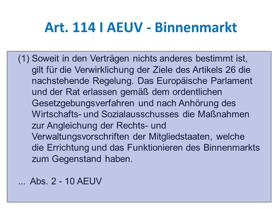 Art. 114 I AEUV - Binnenmarkt