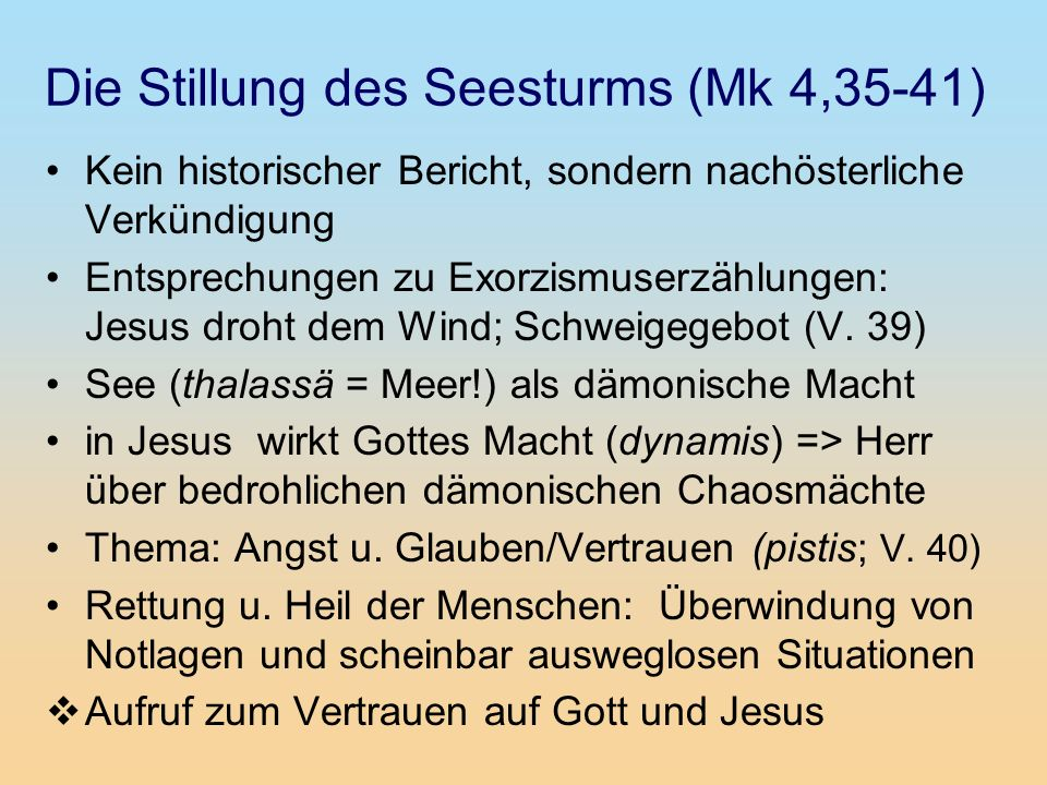 Die Stillung des Seesturms (Mk 4,35-41)