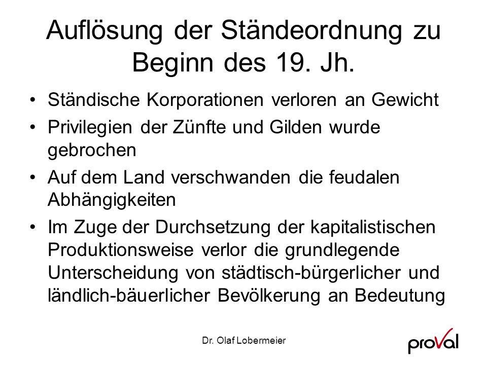 Auflösung der Ständeordnung zu Beginn des 19. Jh.
