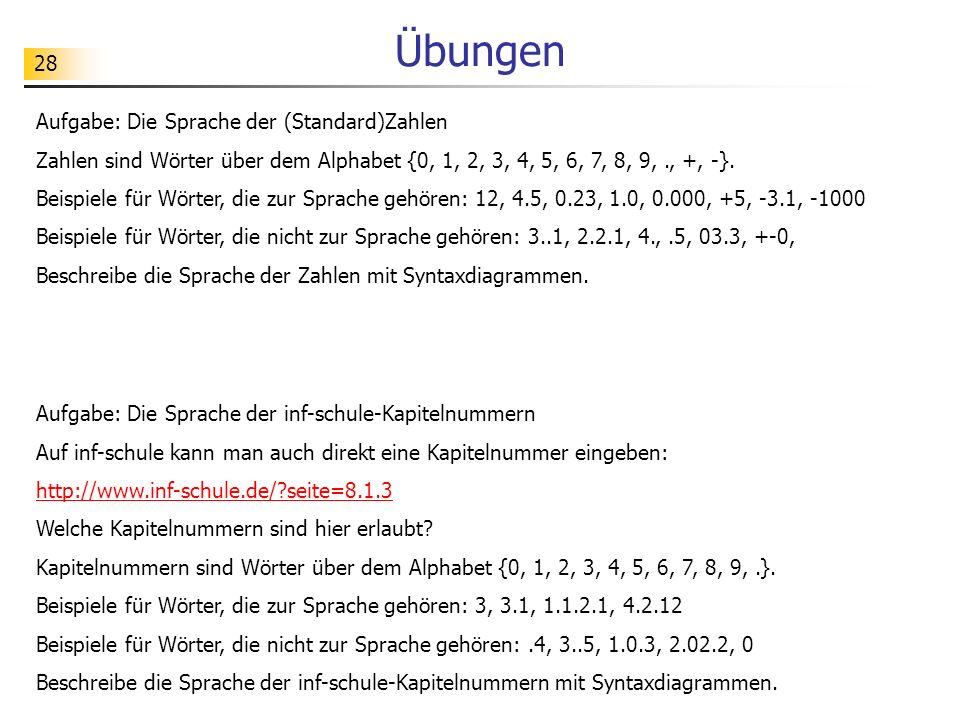 Übungen Aufgabe: Die Sprache der (Standard)Zahlen