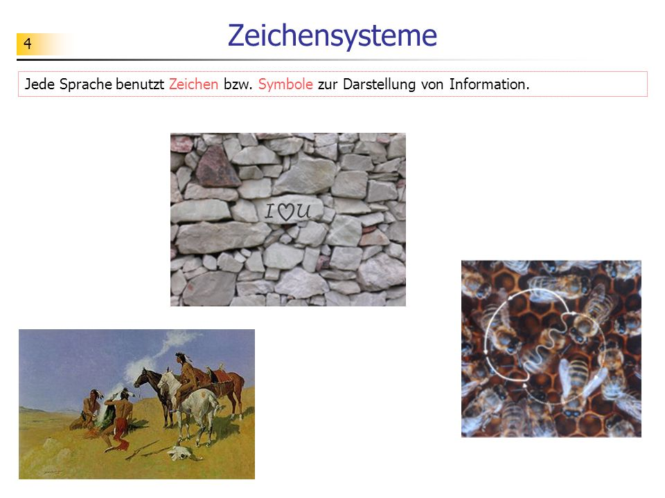 Zeichensysteme Jede Sprache benutzt Zeichen bzw. Symbole zur Darstellung von Information.