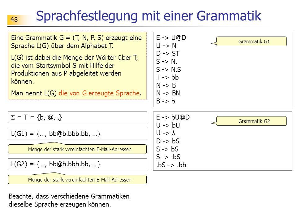 Sprachfestlegung mit einer Grammatik