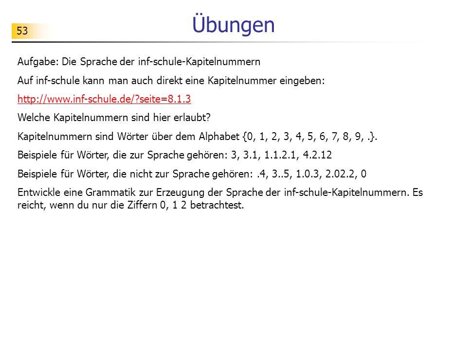 Übungen 53 Aufgabe: Die Sprache der inf-schule-Kapitelnummern